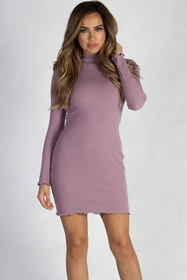 """""""Where Haven't We Been"""" Dusty Lilac Ribbed Long Sleeve Merrow Hem Dress image"""