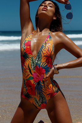 Lolita Sunset Tropical V Neck Halter One Piece Swimsuit image