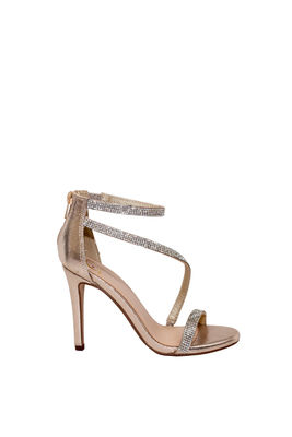 """Passion"" Gold Shimmery Rhinestone Strap Open Toe High Heel image"