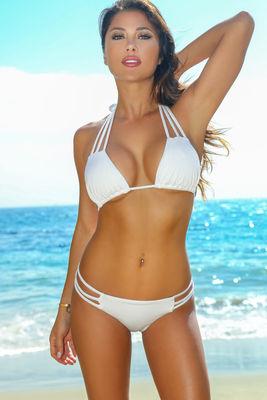 Solid White Triple Strap Triangle Bikini Top image