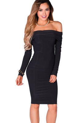 """Sabine"" Black Long Sleeve Off Shoulder Bodycon Midi Dress image"