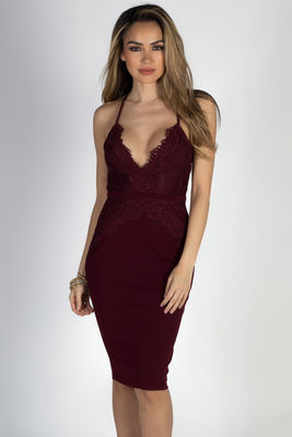 """""""All of Me"""" Burgundy Wine Strappy Lace Back Midi Cocktail Dress image"""
