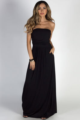 """California Sun"" Black Strapless Tube Top Maxi Dress image"