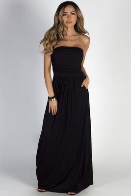 """California Sun"" Black Strapless Tube Top Maxi Dress image"