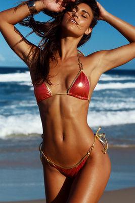 Panama Sangria & Gold Triple Chain Bikini Bottom image