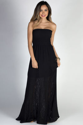 """Carried Away"" Black Strapless Shirred Maxi Summer Dress image"