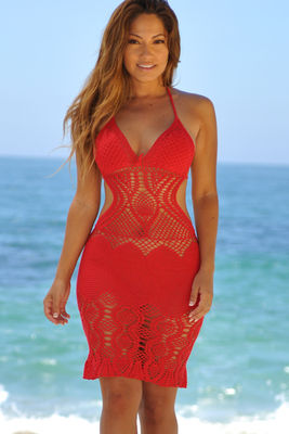 Passion Flower Red Backless Crochet Midi Dress Cover Up image