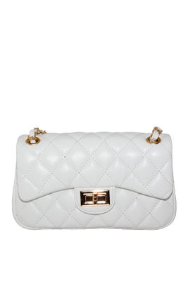 White Vegan Leather Diamond Stitch Handbag image