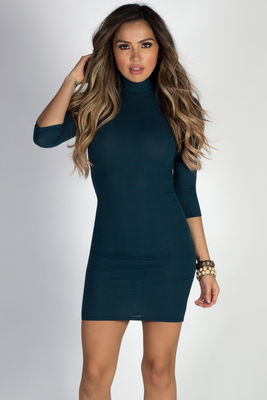 """Simple Pleasures"" Peacock Teal 3/4 Sleeve Jersey Bodycon Classic Turtleneck Midi Dress image"