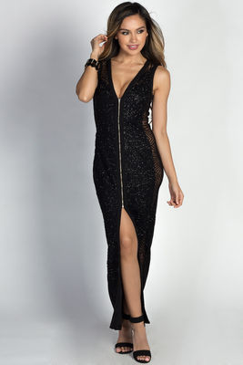 """""""Jaqueline"""" Black Glitter Zip Front Sleeveless Maxi Gown image"""