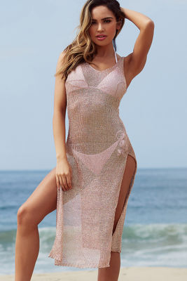 Millionaire Rose Gold Metallic Maxi Dress Cover Up image