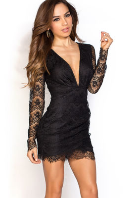 """Kerry"" Black Open Back Plunging Long Sleeve Lace Dress image"