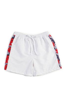 Palm Hibiscus White Men's Swim Shorts image