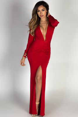 """Theda"" Red Plunging Deep V Long Sleeve Maxi Dress image"