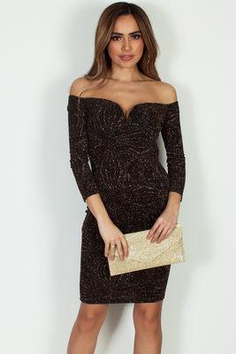 """""""Big Facts"""" Black And Gold Glitter Off Shoulder Long Sleeve Dress image"""