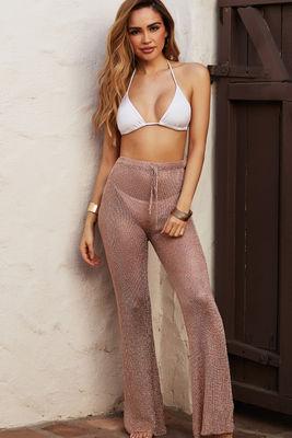 Metropolis Rose Gold Metallic Knit Beach Pants Cover Up image