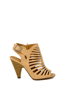 """""""Notorious"""" 4"""" Stacked Heel Beige Cut Out Open Toe Booties image"""