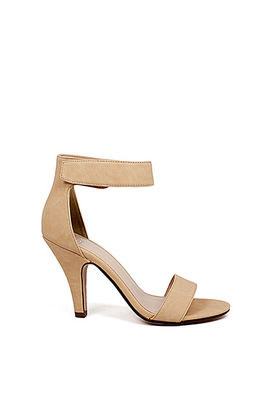 """Real Love"" 4"" Beige Nude Velcro Ankle Strap Womens High Heel Sandal image"