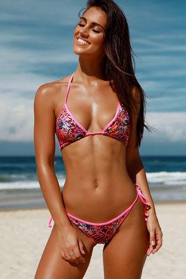 Lima Paradise Print & Neon Pink Triangle Bikini Top image