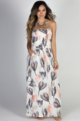 """""""Happiness"""" Pastel Floral Print Strapless Maxi Dress with Pockets image"""