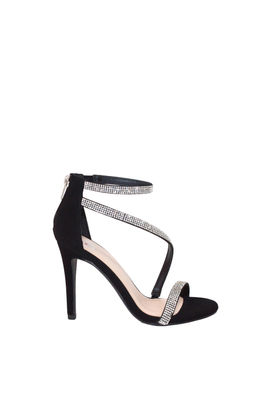 """Passion"" Black Suede Rhinestone Strap Open Toe High Heel image"