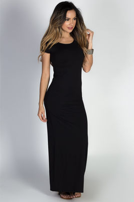 """Keep It Casual"" Black Jersey Short Sleeve Bodycon T Shirt Maxi Dress image"