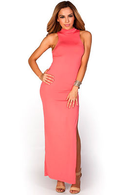 """Britta"" Coral MockneckThigh High Slit Bodycon Jersey Maxi Dress image"