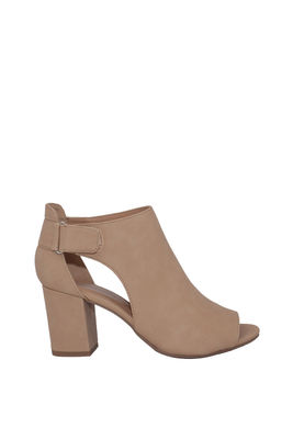 """Finesse"" Beige Suede Cut Out Ankle Boots image"