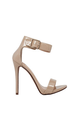 """Dangerous"" 5"" Womens Beige Patent Open Toe Sandal High Heel Shoes image"