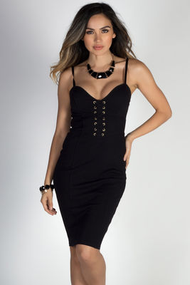 """Can't Stop, Won't Stop"" Black Strappy Bodycon Lace Up Dress image"