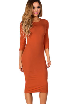 """Margo"" Orange Spice 3/4 Sleeve Jersey Bodycon Midi Dress image"