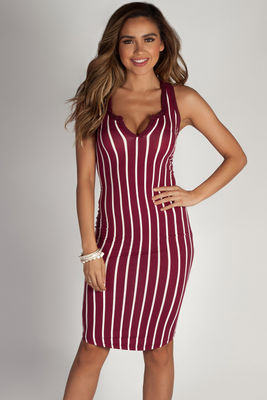 """One Kiss"" Burgundy Striped Racer Back Dress image"