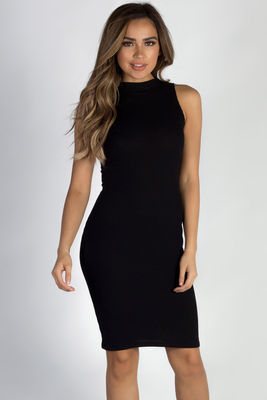 """Talk To Me Nice"" Black Ribbed Sleeveless Dress image"