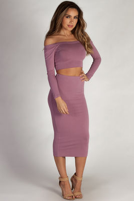 """Bubble Up"" Lavender Off Shoulder Crop Top and Midi Skirt Set image"