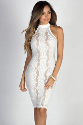 """""""All the Feels"""" White & Nude High Neck Halter Lace Midi Dress image"""