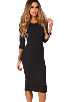 """Margo"" Black 3/4 Sleeve Jersey Bodycon Midi Dress image"