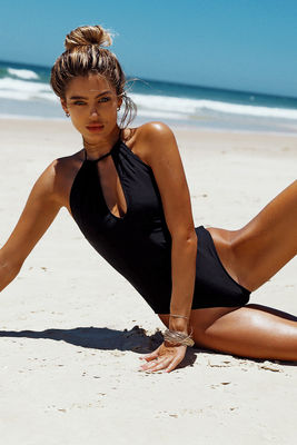 Heather Black Keyhole Halter One Piece Swimsuit image