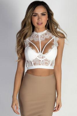 """Honeymoon Suite"" White Lace Bralette Crop Top image"