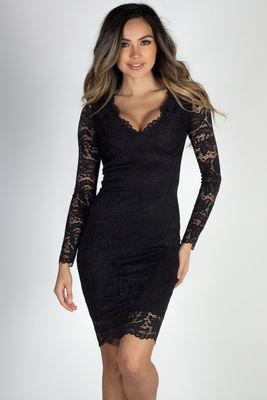 """At Last"" Black Long Sleeve V Neck Elegant Lace Dress image"