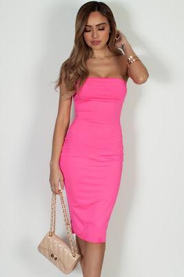 """Into You"" Neon Pink Basic Tube Mini Dress image"