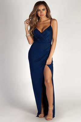 """Silver Screen Siren"" Royal Blue Sparkly Lurex Wrap Maxi Gown image"