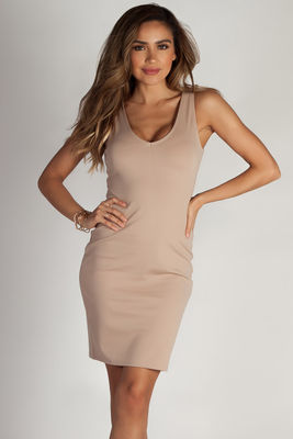 """This Me"" Khaki Essential Scoop Neck Above Knee Dress image"