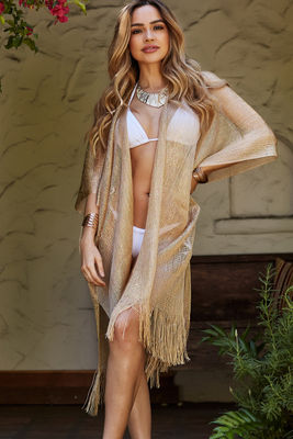De Sousa Gold Fringed Beach Cover Up image