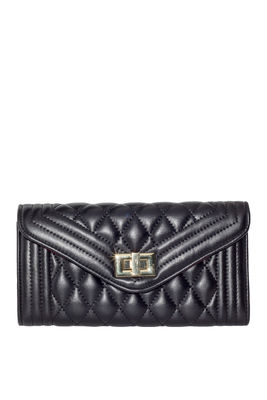 Black Quilted Vegan Leather Bag image