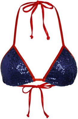 Red Shimmer & Navy Blue Sequin Triangle Top image