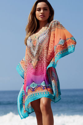 """""""Agua Fresca"""" Pink Multi Color Snake Print Beach Cover Up image"""
