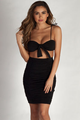 """Out Of Love"" Black Two Piece Bandeau & Ruched Skirt Set image"