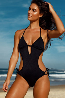 Cartagena Black Open Sided Sexy One Piece Bathing Suit image