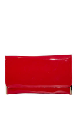 Red Patent Leather Essential Flap Clutch image