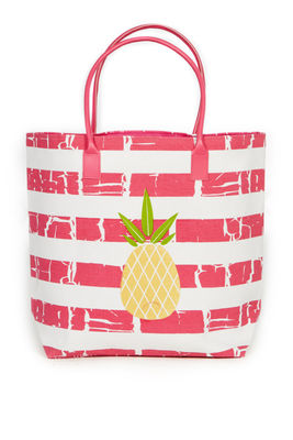 Pink Stripe Pineapple Beach Bag image